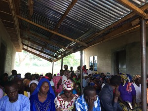Gurku Church service held in a temporary spot