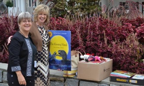 Debbie Eisenbise with Sherri Arrington, principal of Junaluska Elementary School. Photo by Cheryl Brumbaugh-Cayford