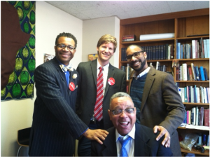 Pastor Billy Thompson, Jesse Winter (OPW), Drew Hart, and Pastor Keith Collins visiting the Office of Public Witness