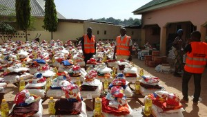 Food and Household items ready for distribution