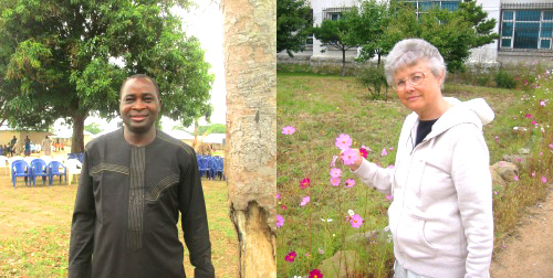 Markus Gamache serving in Nigeria and  Linda Shank serving in North Korea Photos by Carl Hill and Robert Shank