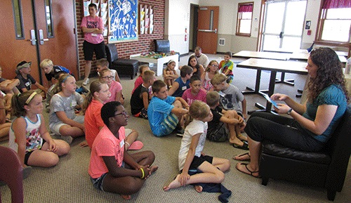 MSS volunteer Ruth Ritchie-Moore reading to students at Buffalo Valley Church of the Brethren. Photos by Donita Keister