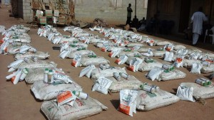 Seeds and Fertilizer ready for distribution