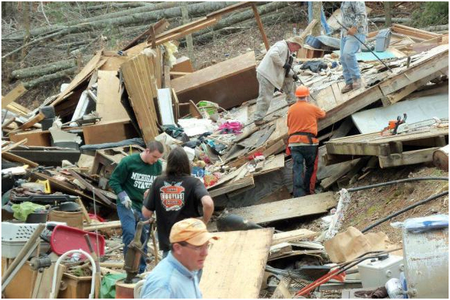 Cleaning up tornado destruction