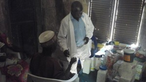 Medical personnel see patients and give medicines.