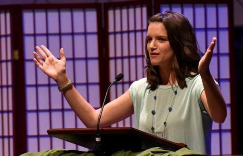 Lauren Seganos preaching at National Junior High Conference in July. Photo by Glenn Riegel