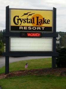 Crystal Lake Resort sign