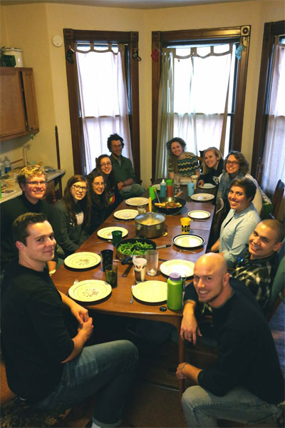 Sharing a meal at the BVS house in Elgin
