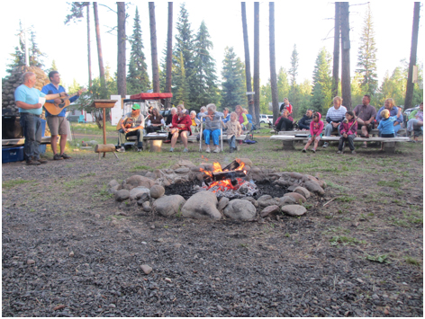 Singing around the campfire at Camp Stover