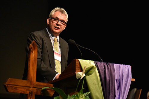 Jay Wittmeyer speaking at Annual Conference 2015. Photo by Glenn Riegel