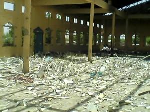 Broken chairs inside Gulak Church