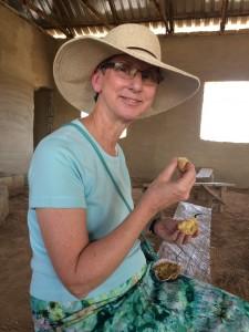 Julie Heisey enjoys a muffin