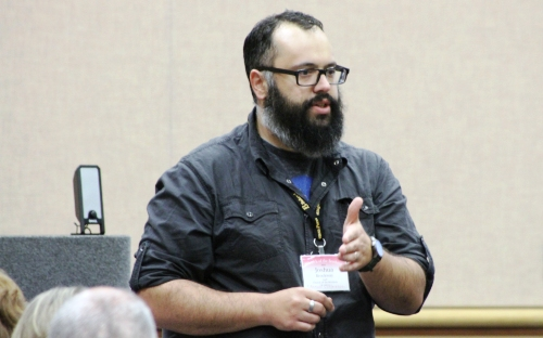 Josh Brockway speaking at Annual Conference 2015. By Regina Holmes