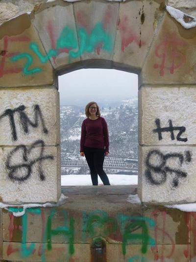 Julia Schmidt with graffiti