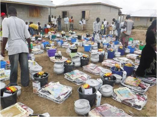 Distribution of household items at Masaka
