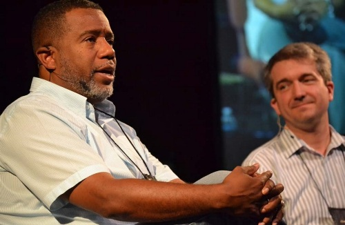 Alexander Gee Jr. and Jonathan Shively sharing  stories at the 2015 National Older Adult Conference. Photo by Cheryl Brumbaugh-Cayford