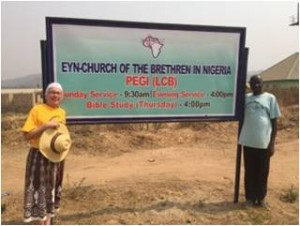 Sign advertising the new church at Pegi, where many from Chibok have resettled. (photo from Pat Krabacher)