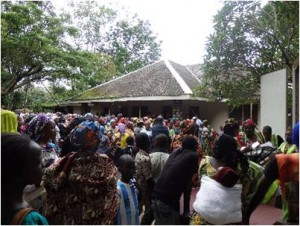 Widows gathered to receive aid
