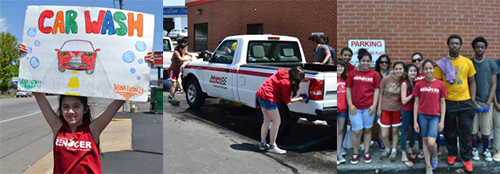 The youth group held a carwash to fundraise for National Youth Conference. Each is excited to join a multitude of Church of the Brethren youth at NYC. Photos by Daniel D'Oleo