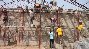 Scaffolding at the new church (by Carol Goss)