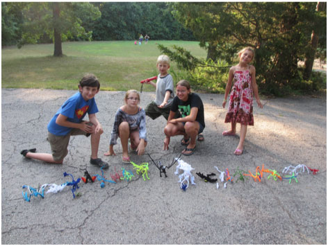 Pipe cleaner dragons at Camp Hammond Mill
